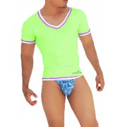 Icker Sea Contrast Trim V Neck Short Sleeved T Shirt Green/Purple CA-16-05