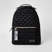 river island Womens Black satin quilted backpack (One Size)