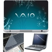 Finearts Laptop Skin 15.6 Inch With Key Guard & Screen Protector - Vaio Blue Floral