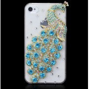 Luxusné Crystal Diamonds Bling Bling puzdro modre (pre iPhone 4 4S )
