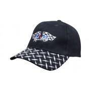 Headwear Professional 6 Panel HBC Cap With Checker Plate Peak Black 4044