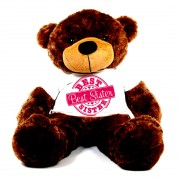 5 feet big brown teddy bear wearing special Best Sister T-shirt