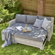 Leisure Oxborough Rattan Lounge Sofa With Pull Out Bed Wide Weave