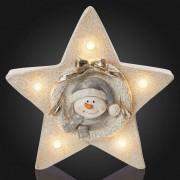LED star with internal snowman motif