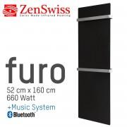 ZenSwiss furo Music Handtuchtrockner 52 x 160 cm (Matt Schwarz)