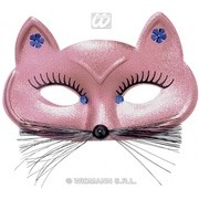 Accesoriu carnaval - Masca pisica aurie/roz