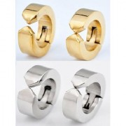 COMBO Non Piercing Stainless Steel Mens Womens clip on Huggie Hoop Earrings 1 Pair Golden 1 Pair Silver CODEPF-1012