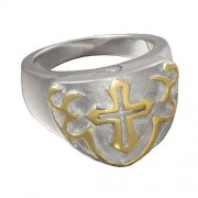 Memorial Gallery 2010S-12 Men's Cross Ring Sterling Silver Two Tone Cremation Pet Jewelry, Size 12