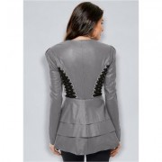 Lace UP Faux Leather Jacket Jackets & Coats - Black/grey