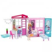 Игрален комплект Barbie - розова къща с басейн и с кукла, 1710158