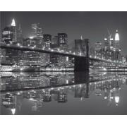 Fototapeta čiernobiela FTNXXL 0471 Pohľad na rieku, vliesová 360x270cm. Brooklynslý most