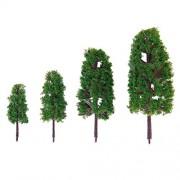 WINOMO Scenery Landscape Model Trees Mini Layout Rainforest Plastic Train Palm Tree Diorama 20Pcs 1: 100-1: 300 (Green)