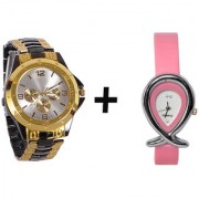 Gtc Combo Of Black Golden Quartz Analog Watch For Man With Pink Oval Leather Analog Watch For Woman