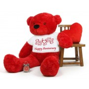 Red 5 feet Big Teddy Bear wearing a Happy Anniversary T-shirt