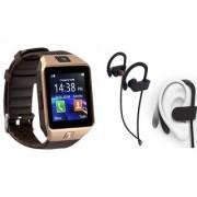 Zemini DZ09 Smart Watch and QC 10 Bluetooth Headphone for SAMSUNG GALAXY S 5 SPORT(DZ09 Smart Watch With 4G Sim Card Memory Card| QC 10 Bluetooth Headphone)