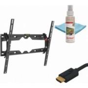 Kit Suport TV Plat-Curbat Barkan 29-65 inch + solutie curatare 100 ml + Cablu HDMI 10.2 Gbps 1.8m