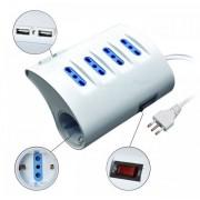 L.S.C. Isolanti Elettrici Presa Multipla A 5 Posti Da Scrivania Con Interruttore E 2 Prese Usb