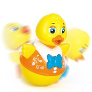 Toyshine Push and Shake Wobbling Roly Poly Tumbler Duck, Music, Lights and Bell Sounds