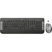Trust 18044 Tastiera Wireless Con 10 Tasti Multimediali + Mouse Wireless Ottico A 5 Tasti Colore Nero - 18044