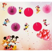 My Party Suppliers Latest Design Bunting Minnie Mouse Paper Fan Party Bunting Banner Flags Party Favors - Pink Minnie Mouse Theme Decoration Girl Banner Happy Birthday Banner, Minnie Mouse Style Party Decorations, Premium Quality Birthday Banner, Minnie M