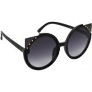 Aislin Cat-eye, Round Sunglasses(Grey)