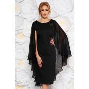 Fekete alkalmi ruha szűk szabás enyhén rugalmas szövet fátyol anyagátfedés