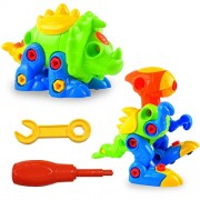LURICO Pull Along Toys, Assemble and Disassemble Dinosaurs DIY Building Construction Toy Take - Apart Dinosaur Puzzle for Kids Over 3 Years Old (2 Sets )
