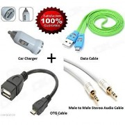 Combo Pack of OTG + Data Cable For Mobile + Car Mobile Charger + Audio Cable