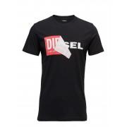 DIESEL MEN T-Diego-Qa T-Shirt T-shirts Short-sleeved Svart DIESEL MEN