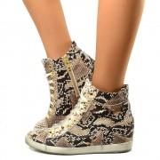 Sneakers Donna con Zeppa Interna Pelle Stampa Pitone Stringate T: 39, 41
