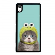 Y&M Cute Cat Frog Hat Phone Case for Sony Xperia Z1 (Black)