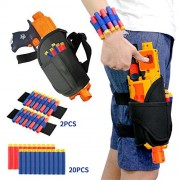 Elongdi Kids Tactical Waist Bag with Dart Wrister Kit for Nerf Guns N-strike Elite Series Blaster, Tactical Waist Bag for kids, Adjustable Nerf Gun holster for Nerf Guns (20 Darts Included)