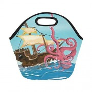 InterestPrint Gogogosky Neoprene Sail Ship On The Ocean Attacked by Giant Octopus Lunch Bag Box Tote
