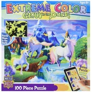Master Pieces Puzzle Company Extreme Color Glow In The Dark Unicorns Jigsaw Puzzle (100 Piece), Art By Michael Searle
