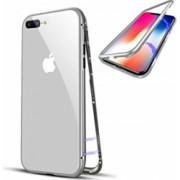 Husa protectie pentru iPhone 8 Argintiu Fullbody fata-spate Bumper metalic cu spate de sticla securizata premium