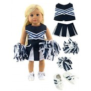 """Navy Blue Cheerleader with Pom Poms and Tennis Shoes -Fits 18"""" American Girl Dolls, Madame Alexander, Our Generation, etc. 
