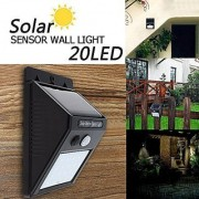AVMART Outdoor Motion Activated Sensor Solar Panel 20 LED Water Proof 2 Lighting Modes Wall Light (Black) - Pack of 1