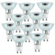 Luminea LED-Spotlight, Glasgehäuse, GU10, 2,5W, 230V, 300lm, warmweiss,10er-Set