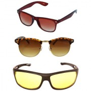 Magjons brown Wayfarer and Clubmaster Sunglasses Combo Yellow Driving Goggale Set of 3 With box MJK03