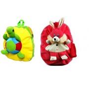 Blue Tree School Bag for Kids/Girls/Boys/Children Plush Soft Bag Backpack Tortoise Rabbit Cartoon Bag Gift for Kids Cartoon Toy Cute Birthday Return Gift/ School Bag/ Travelling Carry Picnic Bag/ Teddy Bag For Children (Yellow pink_3 to 5 Year)