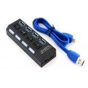 HUB Distribuitor USB Activ cu 4 Porturi USB si Intrerupatoare Individuale
