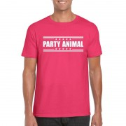 Shoppartners Party animal t-shirt fuchsia roze heren