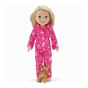 14 Inch Doll Clothes/Clothing | Cozy Bright Pink and White Snowflake Print 2 Piece Classic Pajama PJ Outfit with Teddy Bear | Fits American Girl Wellie Wishers Dolls by Emily Rose Doll Clothes