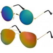 Freny Exim Aviator, Round Sunglasses(Multicolor, Blue)