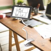 Suport flexibil cu carlig pentru tablete si telefoane-alb