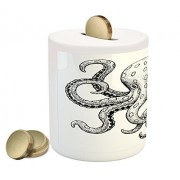 Octopus Coin Box Bank by Ambesonne, Classic Drawn Ink Illustration Wild Marine Animal with Swirling Tentacles, Printed Ceramic Coin Bank Money Box for Cash Saving, Black and White