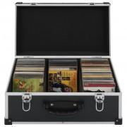 vidaXL CD куфар за 60 диска, алуминий, ABS, черен