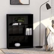vidaXL Етажерка за книги, черен силен гланц, 80x24x108 см, ПДЧ