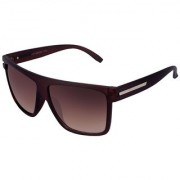 Silver Kartz Luxury Brown-Metal Wayfarer Rectangular Sunglasses (Brown)