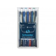 Roller cu cerneala SCHNEIDER One Hybrid C, ball point 0.3mm, 4 culori/set - (N,R,A,V)